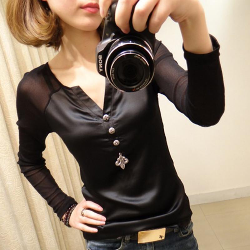 加绒蕾丝中长款上衣春秋新款长袖打底衫女士修身大码拼接PU皮t恤