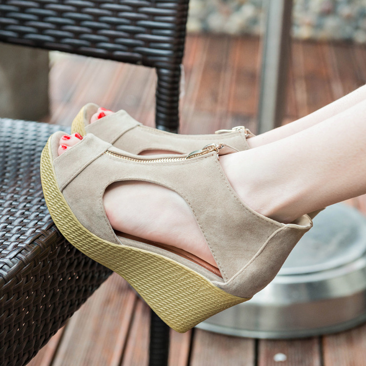 2018 summer new wedge with fish mouth sandals increased sandals Europe and the United States casual female high-heeled muffin women's shoes thick sole