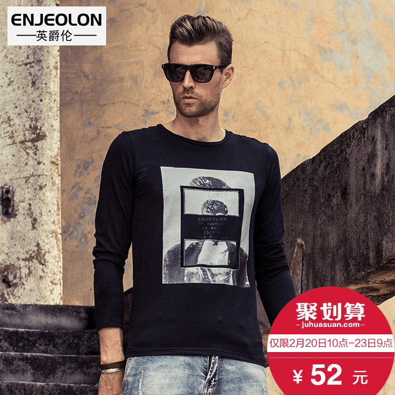 British Viscount new men spring autumn wind stylish crew neck printed in England men's long sleeve t-shirt