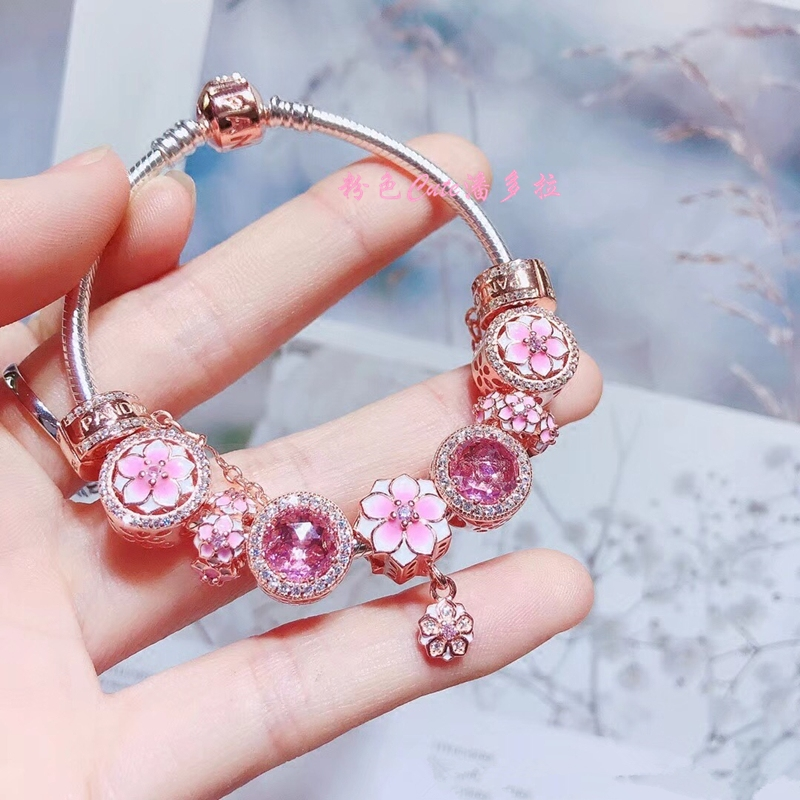 53f5fb8a5 Purchasing genuine Pandora bracelet PANDORA rose gold pink cat eye string  decoration magnolia pendant snake bone