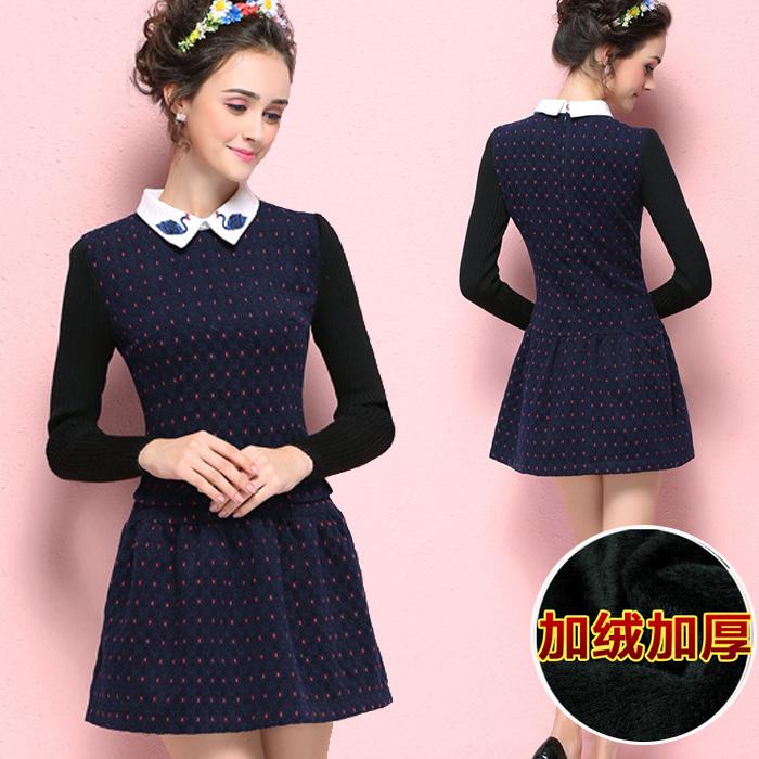 2015秋冬季新款蕾丝连衣裙中长款加绒打底衫女长袖加厚小衫修身潮