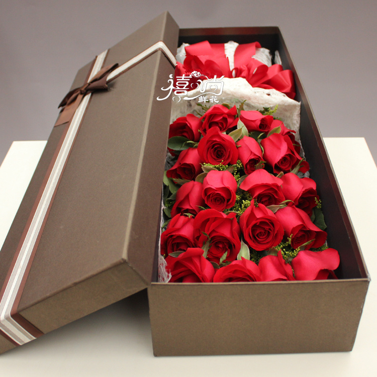 19 red roses gift box love birthday flowers Jiujiang Xishan flower