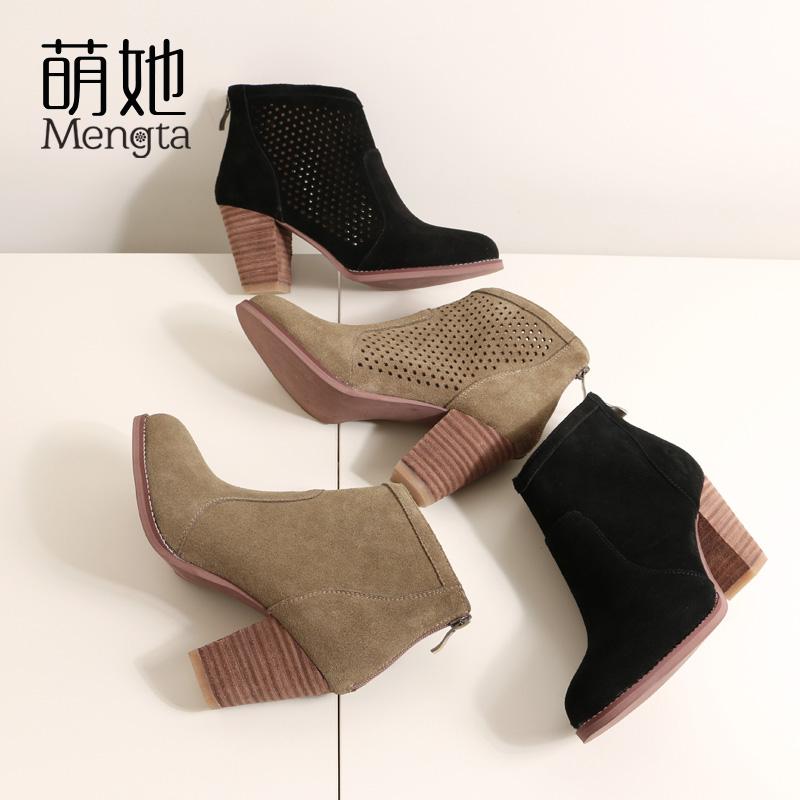 真皮女鞋网靴短筒圆头高跟镂空网纱短靴粗跟磨砂蕾丝凉鞋靴小码鞋