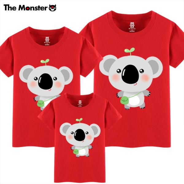 有怪兽 夏装韩版宽松可爱卡通考拉 亲子装短袖T恤成品T恤家庭装