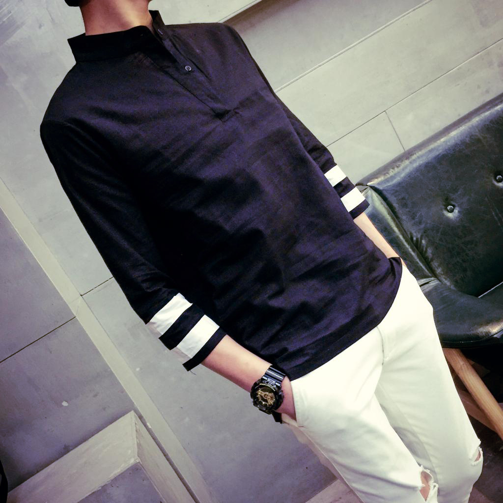 新款男士中袖衬衫 日系男装亚麻棉麻七分袖衬衫男韩版修身衬衣男
