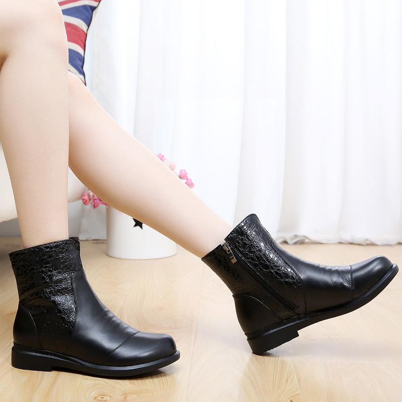 秋冬平跟短靴女单靴女春秋女鞋棉鞋平底鞋加绒棉靴大码女靴4043