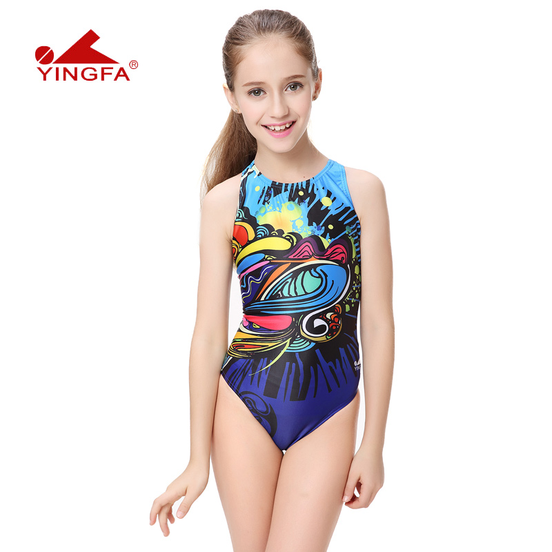 e2171b2bcb British children s swimsuit training competition swimming girls in the big  girl baby professional conjoined triangle swimsuit