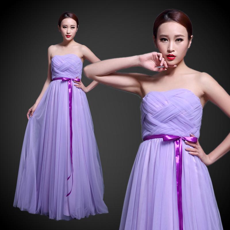婚纱晚礼服伴娘裙纱裙裙红色姐妹长款紫色晚装香槟色抹胸v婚纱主持