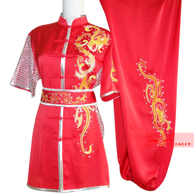 Martial Arts Clothes  Kungfu clothes Short-sleeved Wushu costume embroidery performance dress