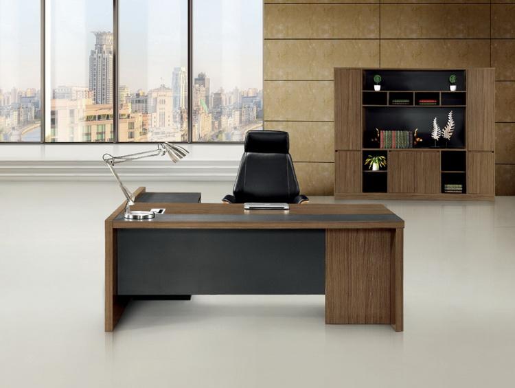 深圳办公家具 电脑办公桌大班台老板桌椅经理桌配矮柜深木纹包邮