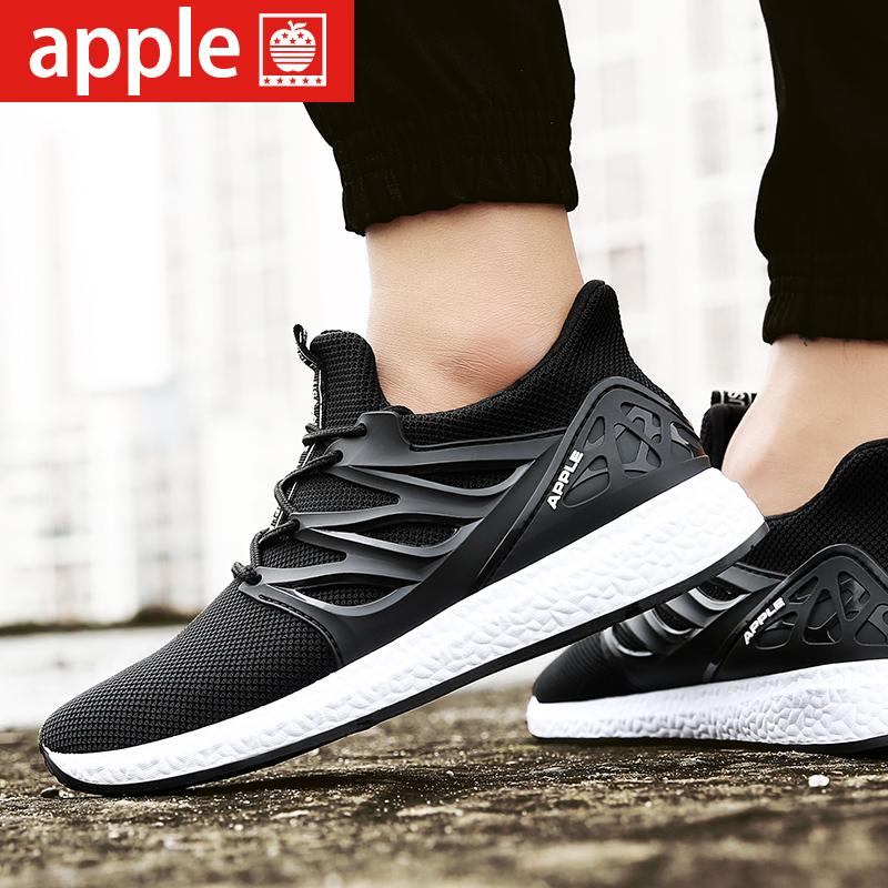 苹果男鞋新款夏季透气飞线网面跑步鞋