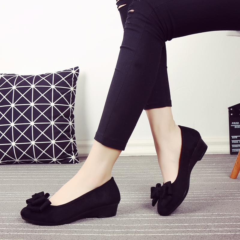 春季老北京黑色单鞋布鞋女鞋鞋蝴蝶结跳舞工装中跟坡跟舒适工作鞋