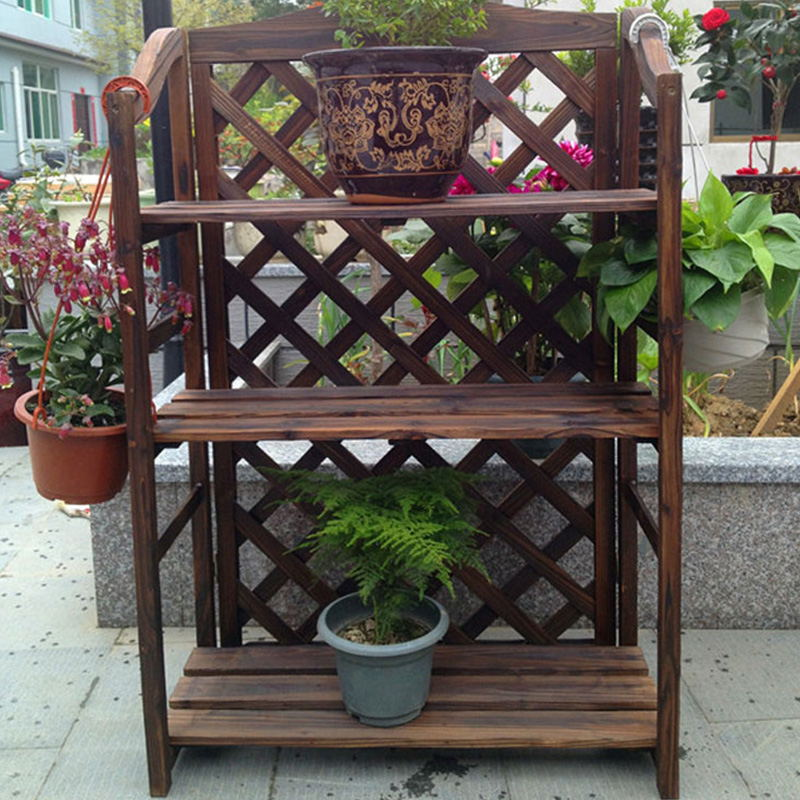 Superbe Carbonized Anti Corrosion Wooden Flower Stand Wooden Bookshelf Shoe Rack  Solid Wood Racks Garden Outdoor