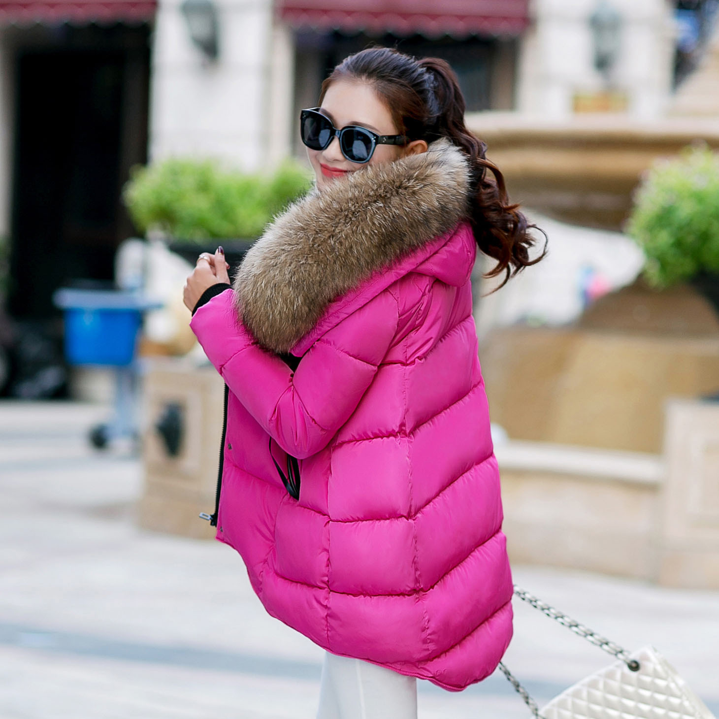 冬装羽绒棉服女韩版中长款连帽大毛领大码加厚女装斗篷棉衣外套潮