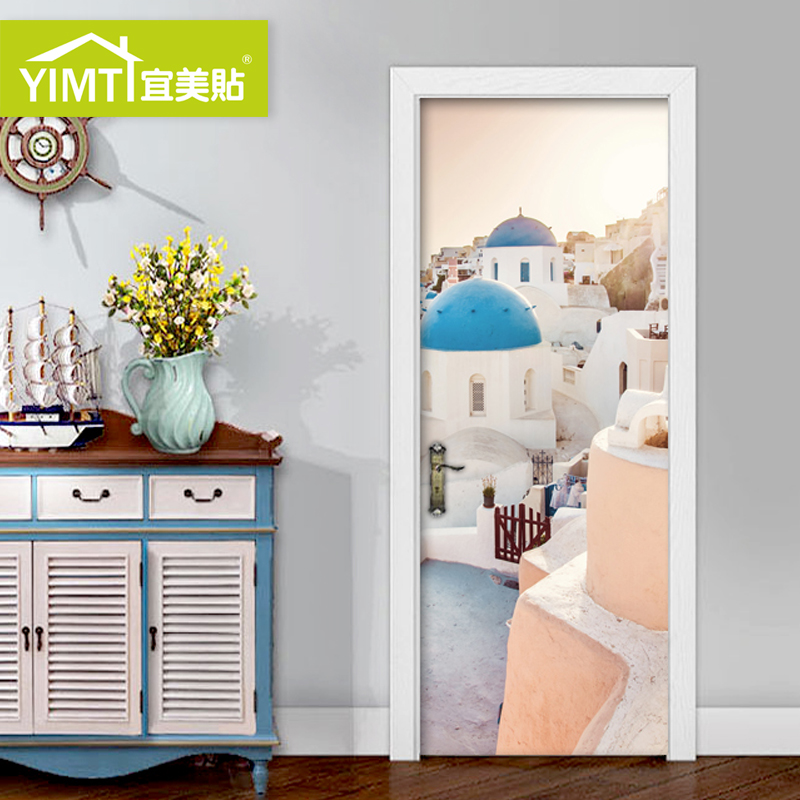 Greece Santorini Bedroom Door Sticker Mediterranean Cupboard Door Sticker  Self Adhesive Creative Door Sticker Wood