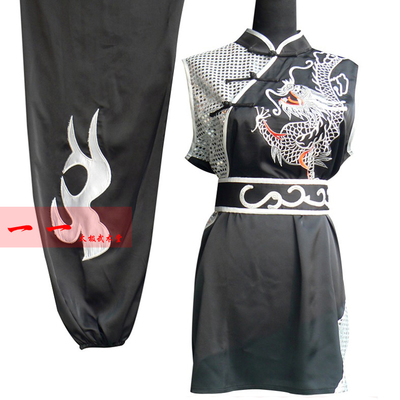 Martial Arts Clothes  Kungfu clothes Sleeveless Wushu Clothing Embroidery Dragon Gongfu Garment South Boxing Garment Competition Garment and Long Boxing Garment Performance Garment Black