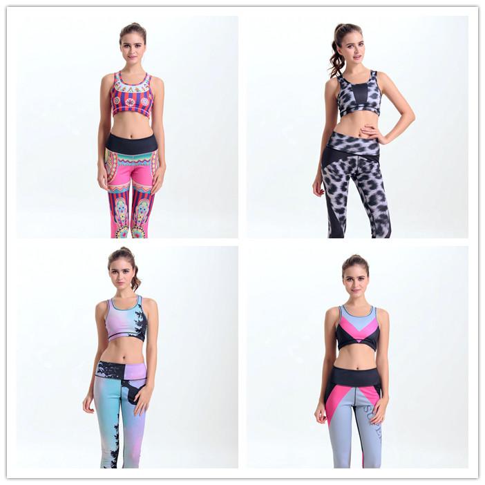 2016新款欧美数码印花半截背心高腰透气吸汗运动长裤套装女瑜伽服