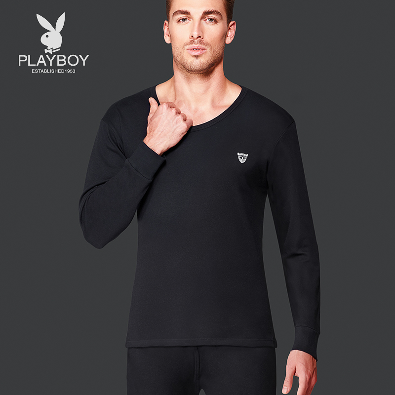 Playboy warm underwear Men's thin V collar youth autumn clothes and autumn pants cotton men's underwear set cotton sweaters