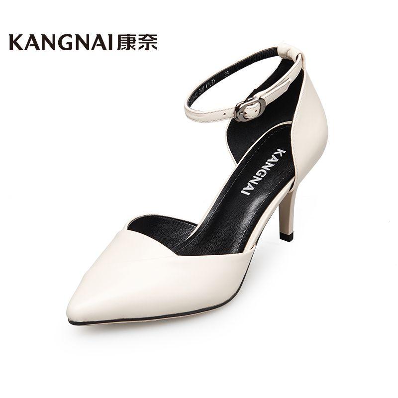 康奈女鞋正品2016夏季新品专柜皮鞋时尚粗跟真皮水钻舒适透气凉鞋