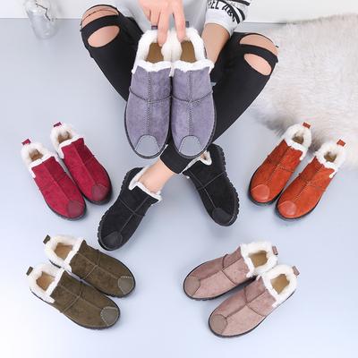 莎仕路加绒女鞋子冬季2018新款韩版百搭原宿豆豆鞋女保暖女棉鞋
