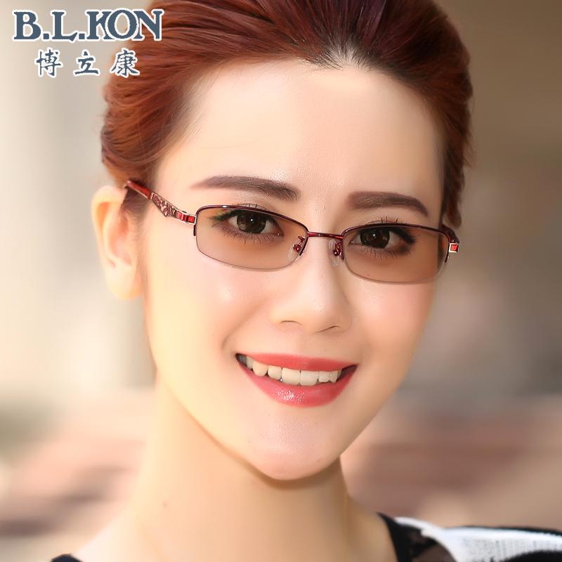 平光女款防蓝光半框户外变色电脑防辐射防紫外线护目近视成品眼镜