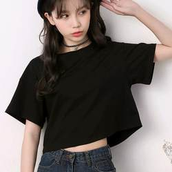 Pure white t-shirt short paragraph short-sleeved loose navel cotton crewneck Korean version of the exposed black navel coat