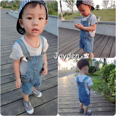 Summer new Korean version of children's clothing baby boys and girls children's tide bib denim shorts