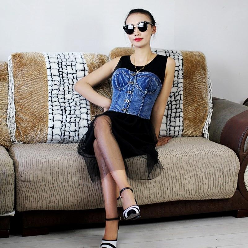 夏季修身牛仔外套裹胸雪纺件套时尚拼接马甲蕾丝网纱连衣裙两性感