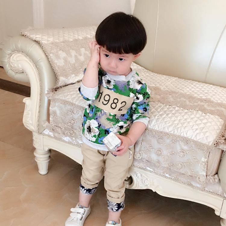0-1-2-3-4岁婴幼儿童装男宝宝春秋长袖三件套装 男童运动外出服潮
