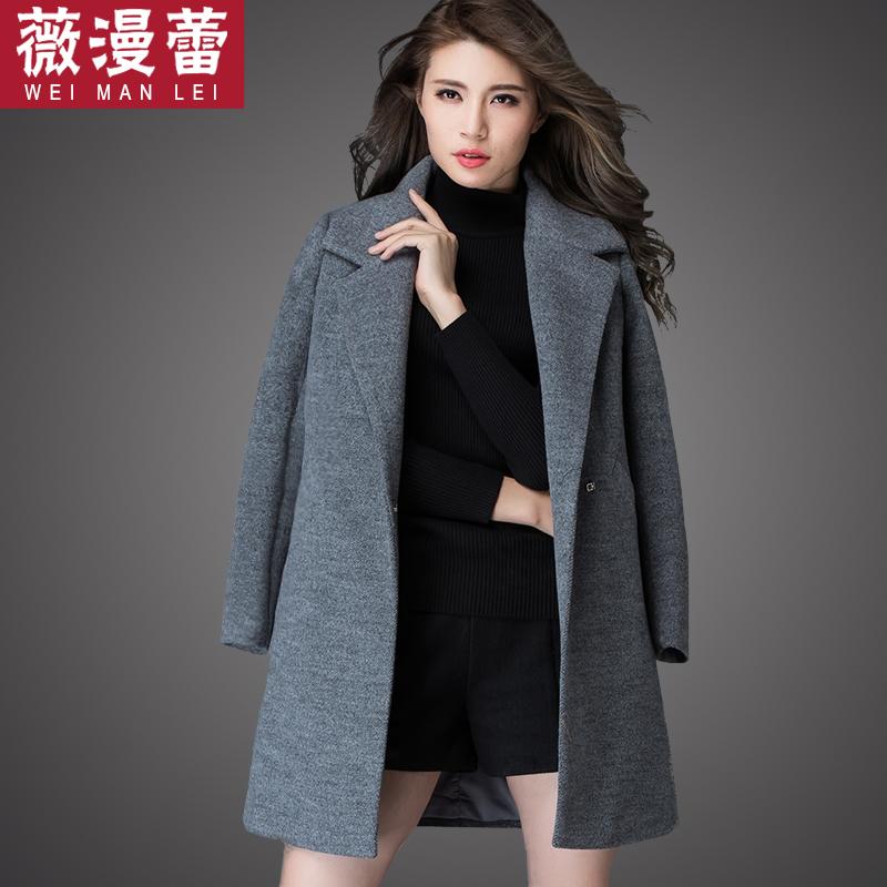 学生韩版毛呢外套加棉加厚中长款女韩范中款褂子显瘦冬装呢子大衣