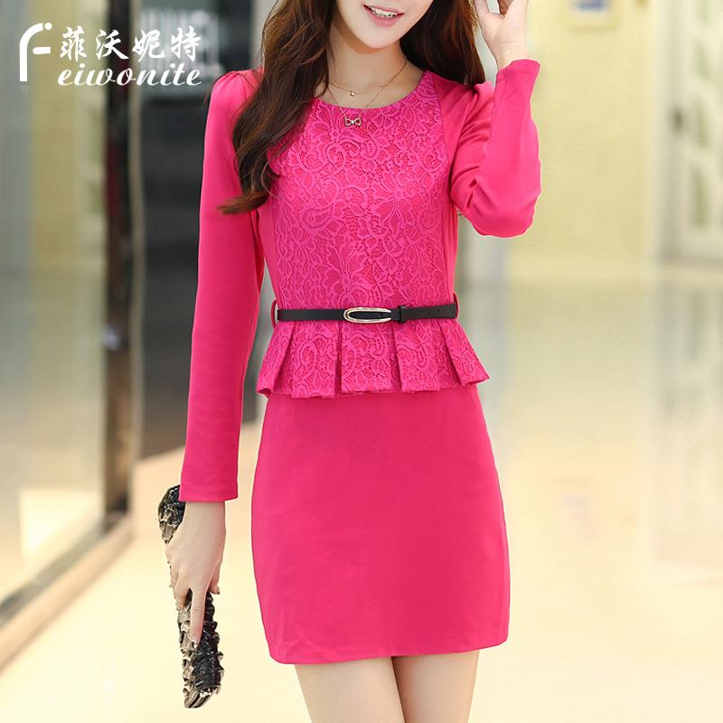 2016春装新款系带领中长款蕾丝衫女韩版修身百搭裙摆型打底衫上衣