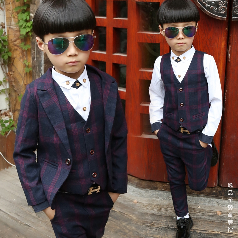 910973ff 3 children's vest three-piece suit 5 boys dress British lattice small suit  6 spring and autumn 9-year-old boy 7 flower girl suit 8