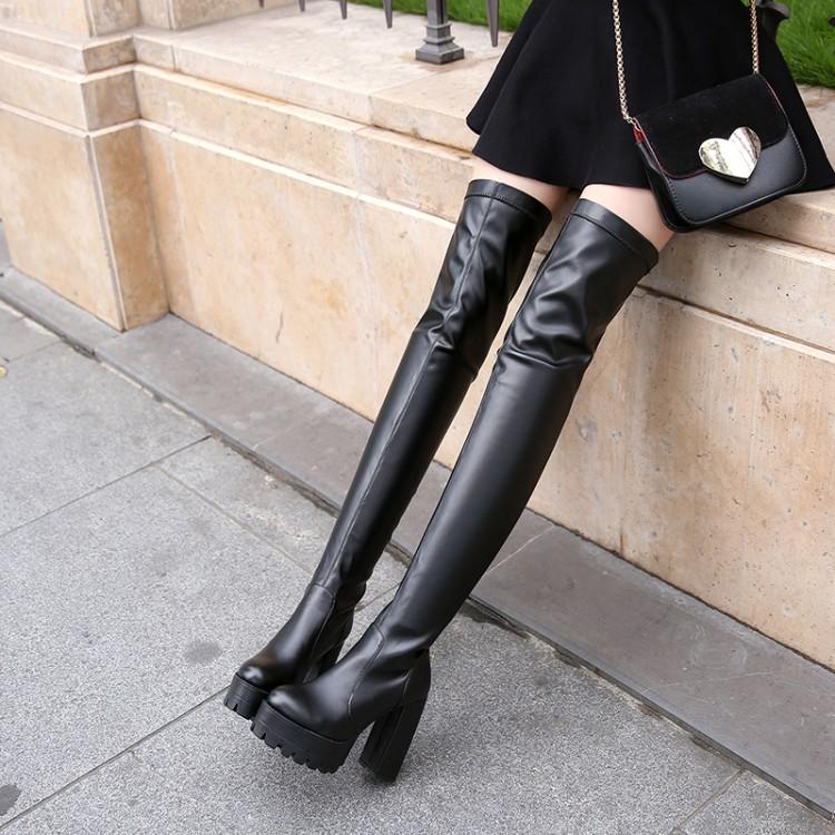 高筒跟防水台厚底过膝长靴女大码41-43粗跟弹力显瘦超高长筒靴子