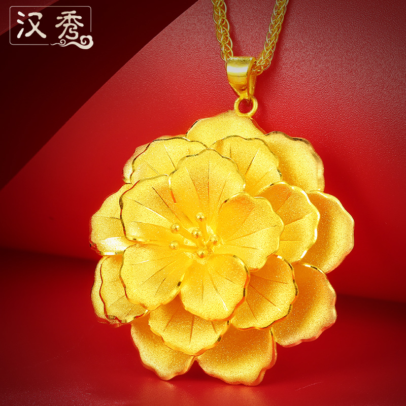 soo pure gold 999 gold flower pendant gold pendants pendant female ...