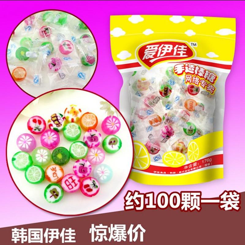 圣诞节礼物爱伊佳手工切片糖韩国创意进口帖结婚喜糖水果糖儿童