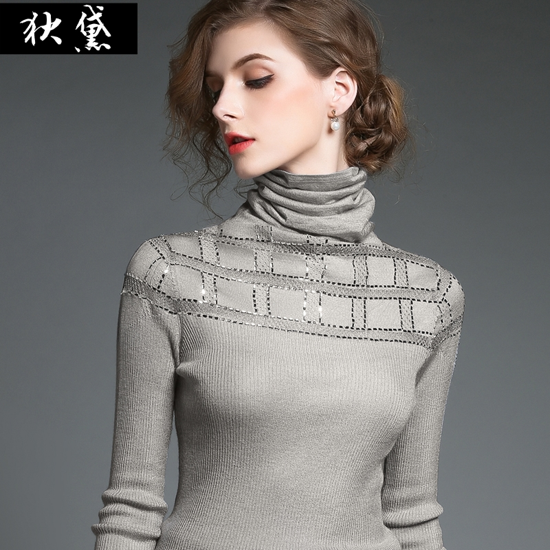Europe winter new hollow slim silver head collar Plaid long sleeve sweater knit sequin top