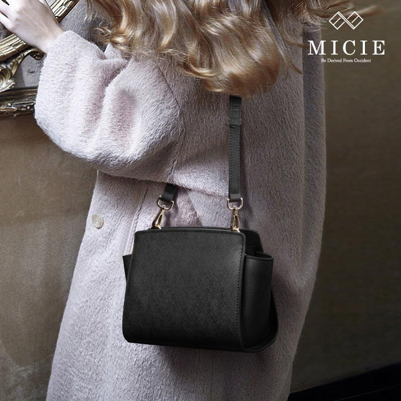 MICIE/美熙小香风菱格链条包羊皮单肩斜挎包女小包包真皮女包迷你
