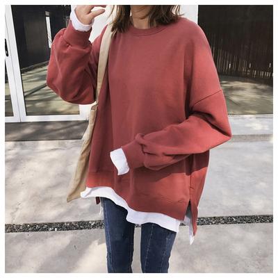 假两件慵懒加绒cec卫衣女秋冬韩版学生宽松长袖套头上衣加厚外套