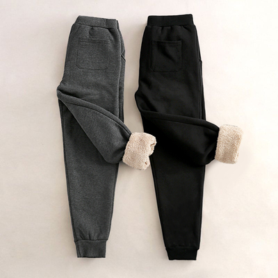 冬季羊羔绒加绒加厚休闲运动裤女学生韩版百搭棉裤宽松哈伦裤卫裤