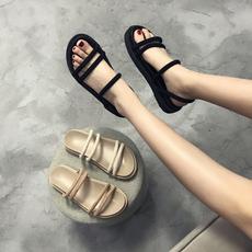 chic网红凉鞋两穿女学生夏平底2018新款百搭韩版ins原宿风厚底鞋