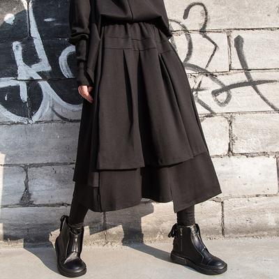 欧美秋冬新款女装纯色显瘦半身裙中长款A字裙百褶裙不规则裙子潮