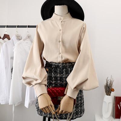 灯笼袖加绒衬衫女加厚保暖泡泡袖2018秋冬新款韩范上衣女士白衬衣