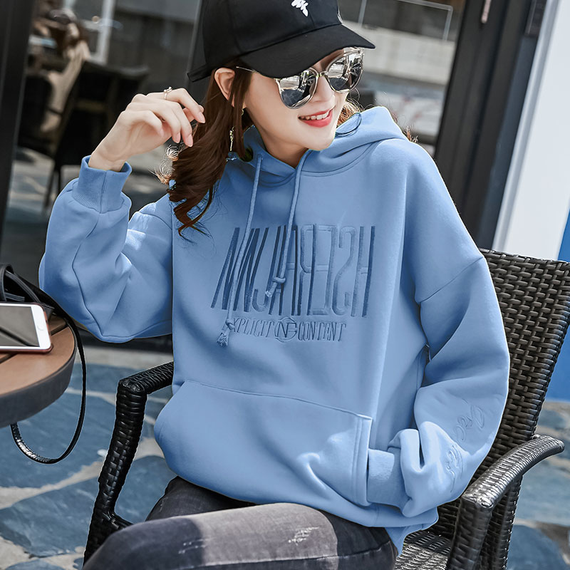 Hoodie sweatshirt Women loose Korean version thin section Velvet thick spring and autumn 2021 early Spring new coat