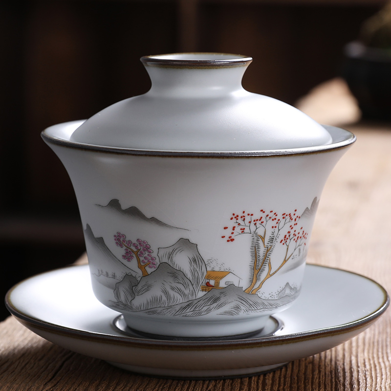 The kiln three only cover the bowl tea bowl teacup open piece can raise the moon white fruit kung fu tea hand grasp ceramic bowl is not hot hands