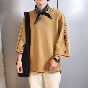 短袖T恤男士潮流男生打底衫韩版宽松七分袖男潮牌夏装杨杨家