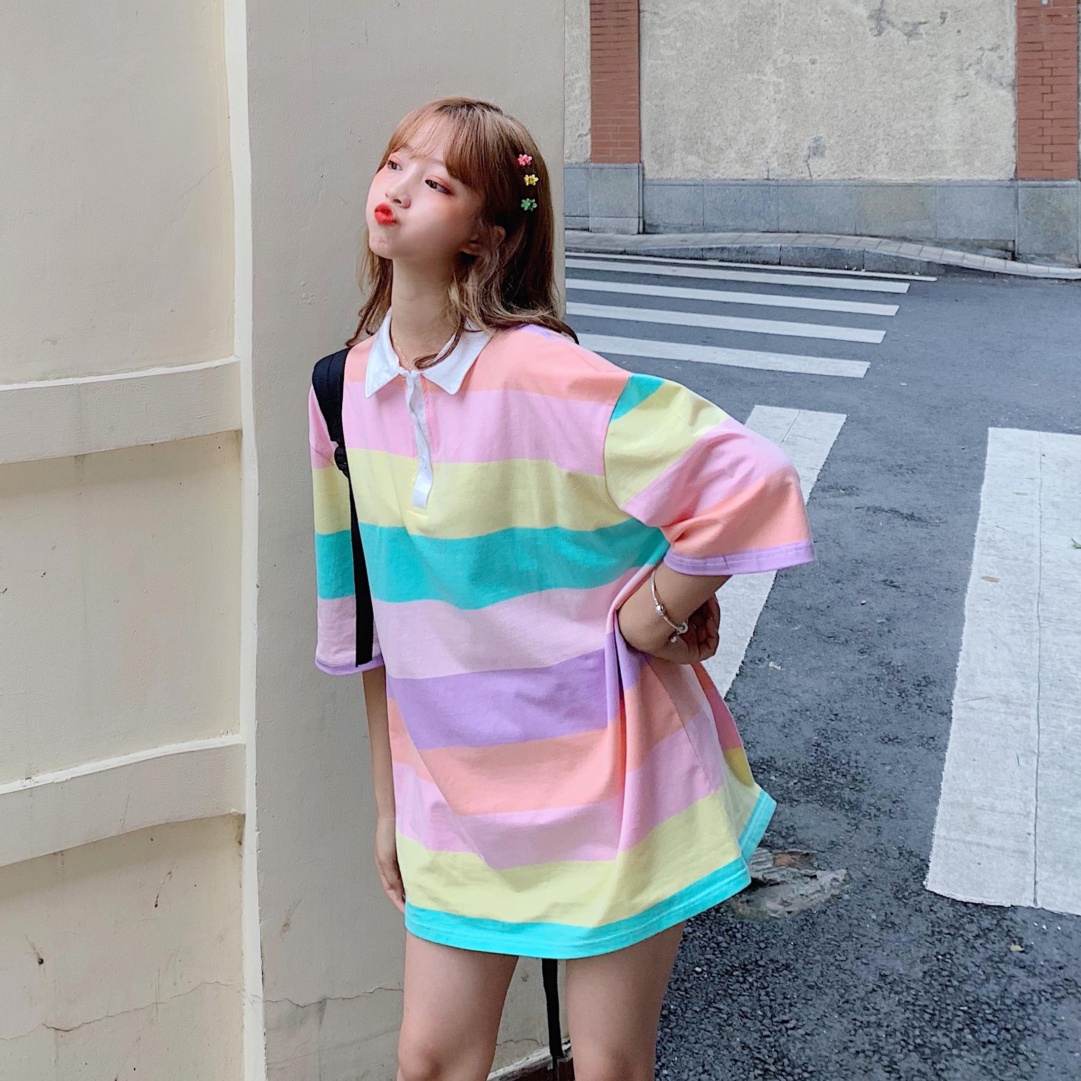 控+5 实拍实价夏小清新女彩虹条纹POLO领宽松短袖中长T恤裙
