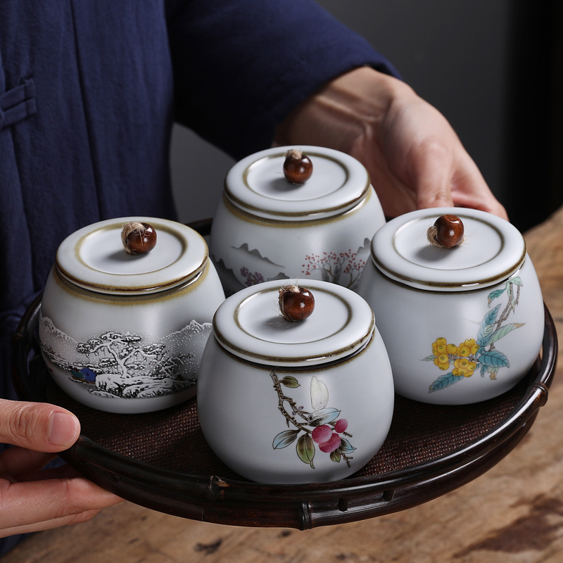 Kiln tea cans small mini storage can tea ceramic jars portable retro home moisture-proof sealing cans