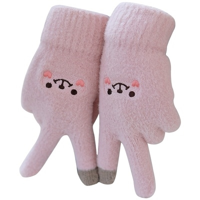Plush mens gloves Womens autumn autumn and winter furry simple finger warm cotton protection thickened cotton waterproof touch screen