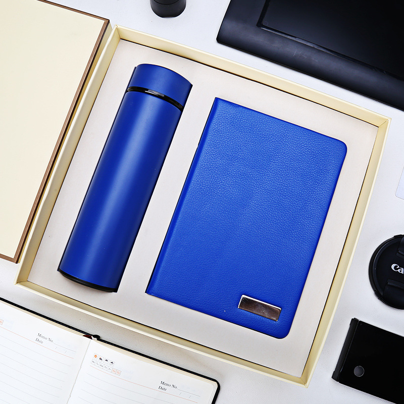Custom 2pcs gift set company annual meeting notebook gift box thermos cup notepad custom logo