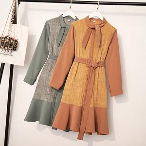 实拍大码女装2019胖妹妹时尚收腰显瘦拼接假两件套鱼尾百搭连衣裙
